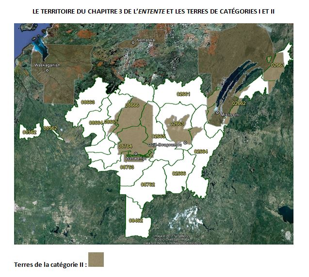 Le territoire du Chapitre 3 de l'Entente et les Terres de la catégorie I et II